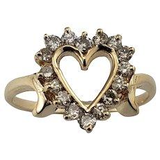 Vintage 14 Karat Yellow Gold Diamond Heart Ring Size 6.75