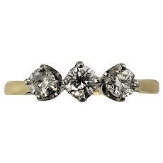 Vintage 14 Karat Yellow Gold and Diamond Ring Size 8.25