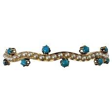 Vintage 14 Karat Yellow Gold Turquoise and Pearl Bangle Bracelet