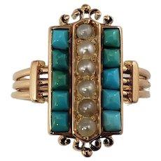 Vintage 10 Karat Rose Gold Turquoise and Pearl Ring Size 5.25