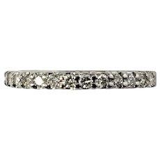 Vintage 14 Karat White Gold Diamond Wedding Band Ring Size 5