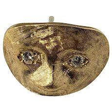 Vintage 14 Karat Yellow Gold and Diamond Mask Tie Tack