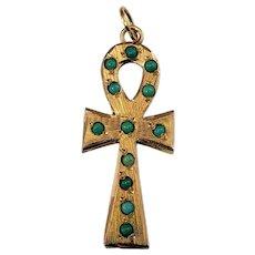 Vintage 18 Karat Yellow Gold and Turquoise Ankh Cross Key of Life Pendant