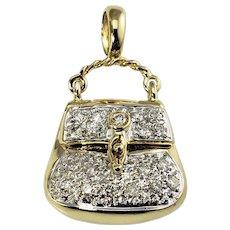 Vintage 14 Karat Yellow Gold and Diamond Handbag/Purse Charm