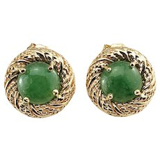 Vintage 14 Karat Yellow Gold and Jade Earrings