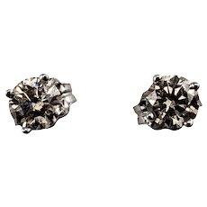 Vintage 14 Karat White Gold Diamond Stud Earrings .50 tcw.