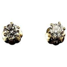 VIntage 14 Karat Yellow Gold Diamond Stud Earrings .20 tcw.