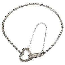 Vintage 14 Karat White Gold Diamond Tennis Bracelet with Heart Clasp