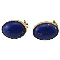 Vintage 18 Karat Yellow Gold Lapis Lazuli Earrings
