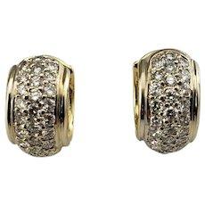 Vintage 14 Karat Yellow Gold and Diamond Hoop Earrings