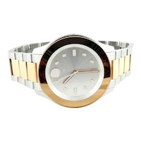 Movado Bold Stainless Steel Two Tone Ladies Watch Rose and Silver Tones Box