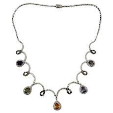 Vintage 14 Karat White Gold Amethyst, Citrine, Tourmaline, Sapphire and Diamond Necklace GAI Certified