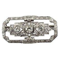 Vintage 18 Karat White Gold and Diamond Brooch/Pin GAI Certified