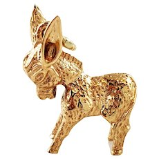 Vintage 14K Yellow Gold Donkey Charm