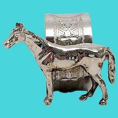 Vintage Sterling Silver Figural Horse Napkin Ring