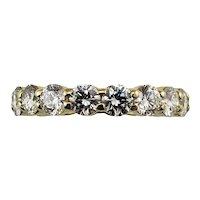 Vintage 18 Karat Yellow Gold Diamond Eternity Band Ring Size 5.5