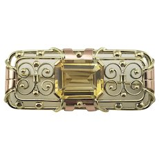 Vintage 14 Karat Yellow and Rose Gold Citrine Brooch/Pin GAI Certified