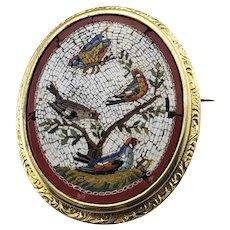 Vintage 18 Karat Yellow Gold  Micro Mosaic Brooch/Pin