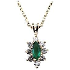Vintage 14 Karat Yellow Gold Emerald and Diamond Pendant Necklace