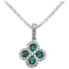 Vintage 14 Karat White Gold Emerald and Diamond Pendant Necklace