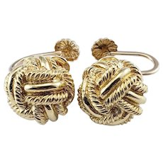 Vintage Tiffany & Co Schlumberger 18 Karat Yellow Gold Knot Screw Back Earrings