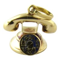 Vintage 14K Yellow Gold Rotary Dial Telephone Charm 3D