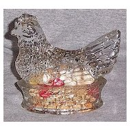 Glass Chicken On The Nest Candy Container
