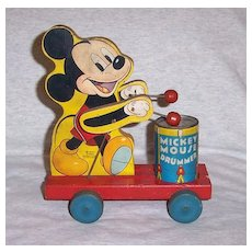 Vintage Fisher Price Wood Disney Mickey Mouse Drummer #476 Pull Toy