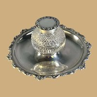 English Sterling and Cut Glass Inkwell  - London 1902