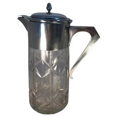 Cut Glass Pitcher with Silver Plated Lid and Ice Tube