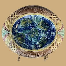 """Majolica Bread Plate - """" Eat thy bread with joy and thankfulness"""""""