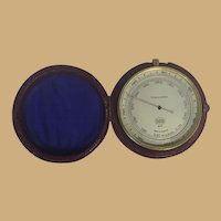 English Pocket Barometer with Leather Case