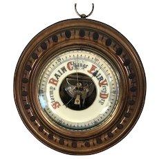 English Walnut Aneroid Barometer