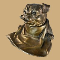 Jennings Bros. Metal Dog Inkwell/Inkstand
