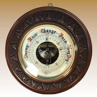 English Mahogany Aneroid Barometer