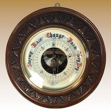 English Mahogany Aneroid Barometer