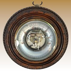 English Mahogany Aneroid Barometer with Reverse Painted Glass Face