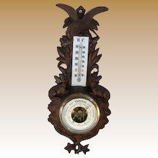 Black Forest Barometer with Eagle and Deer.