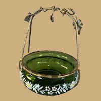 Enameled Art Glass and Gilded Brass Pocket Watch Holder