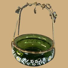 Enameled Art Glass and Gilded Brass Pocket Watch Holder