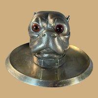 Metal Bulldog Inkwell/Inkstand