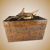 Black Forest Antler and Boars Tooth Tea Caddy