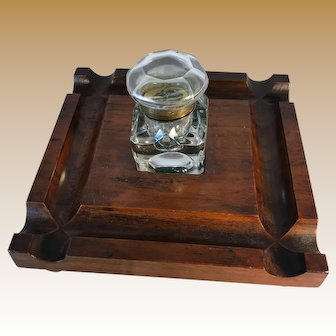 English Walnut Inkwell