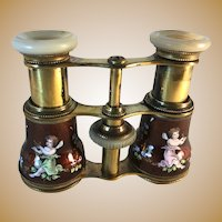 French Sevres Style Enameled Opera Glasses with Leather Case