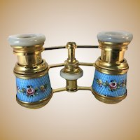 French Enameled Opera Glasses with Leather Case
