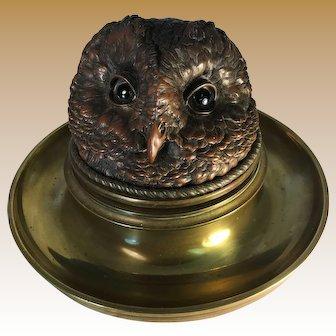Victorian Bronze Owl Inkwell