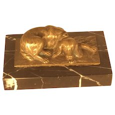 Bronze and Marble Dog Paperweight