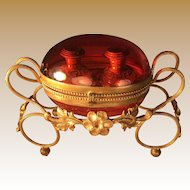 French Cranberry Perfume Casket - Napolean III - Dore Brass Frame