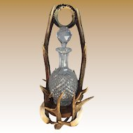 Black Forest Antler Decanter Holder with Cut Glass Decanter