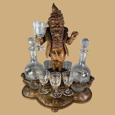Black Forest Gnome Schnappes Set with Twin Decanters.